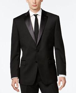 795-Calvin-Klein-Para-Hombre-Entallado-lana-smoking-negro-de-dos-botones-Traje-Chaqueta-36-R