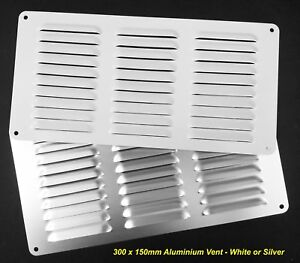 1 x Aluminium Air Vent 300 x 150mm White OR Silver Louvre