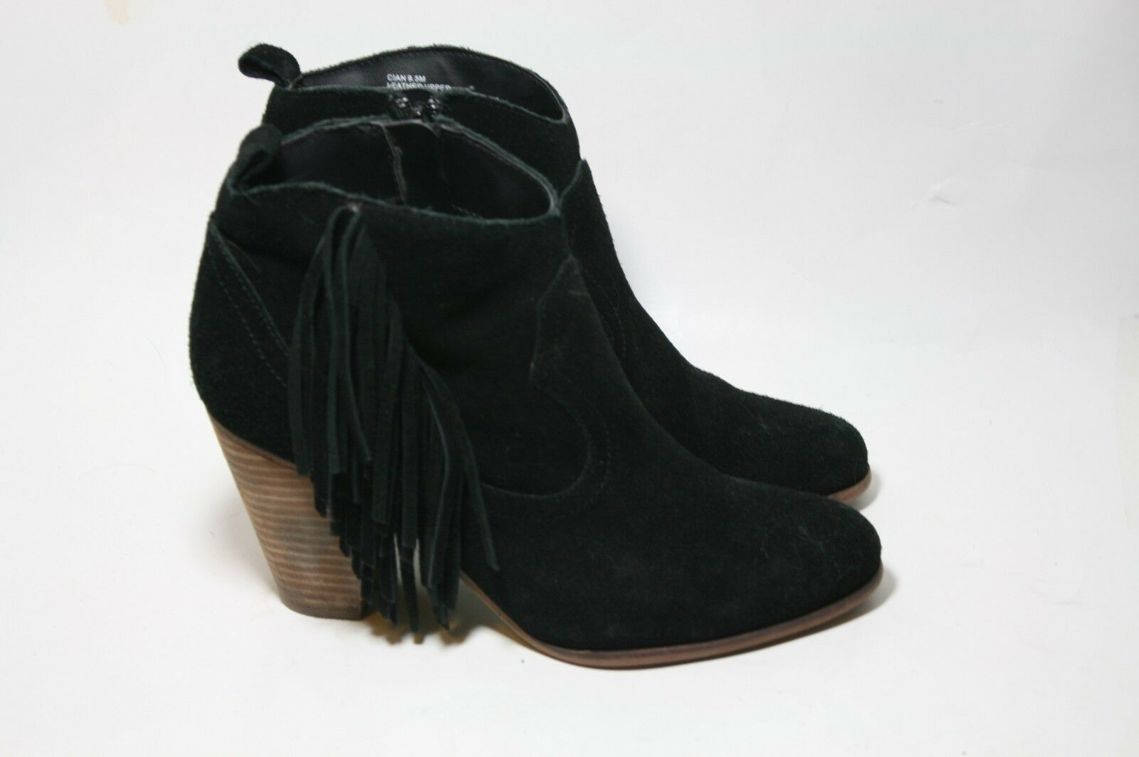 STEVE MADDEN SHOES CIAN CIAN CIAN FRINGE BOOTIES BLACK SUEDE ANKLE BOOTS 9.5  129 f88c5c