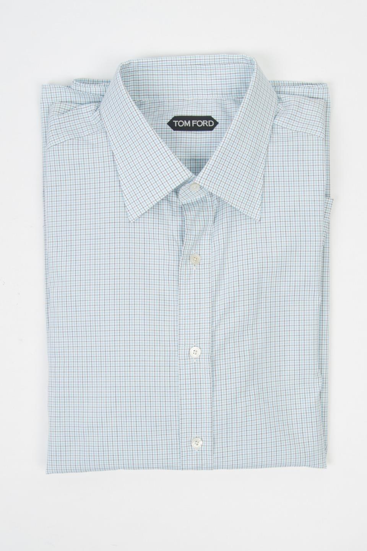 Tom Ford Azzurro Marronee Bianco Rete Slim Camicia in Cotone da Abito 17 1 2 44