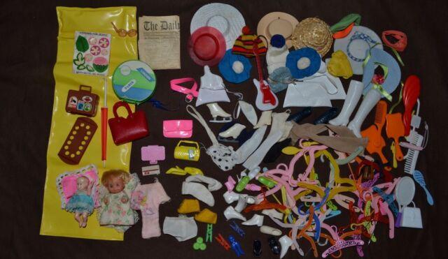 Vintage Barbie & Clone Mixed TLC Accessory Lot - Hats, Hangers, Bags, Misc.