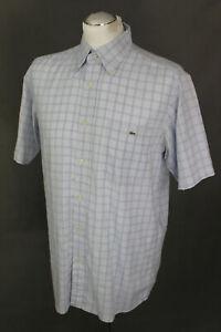 LACOSTE-Mens-Blue-Check-Pattern-Short-Sleeved-SHIRT-Size-40-Medium-M