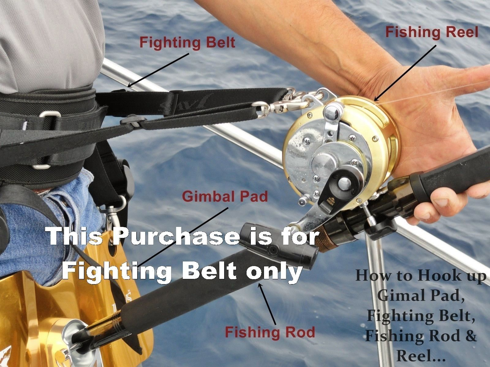 Jaws Ultimate Fighting Belt reel Harness for Boat Shore Surf Big game Fishing