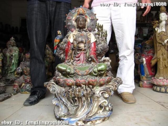 """28""""Large Classic WuCai porcelain bamboo & Bird Kwan-Yin Guan Yin Buddha statue"""
