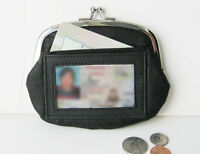 Black Woman Genuine Leather Compartments Large Coin Purse With Id Holder