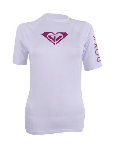 XS, White//Burgundy Roxy Women/'s Short-Sleeve Rash Guard with Logo