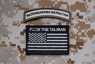 WATERBOARDING INSTRUCTOR Tab & US F*** THE TALIBAN Multicam morale patch set