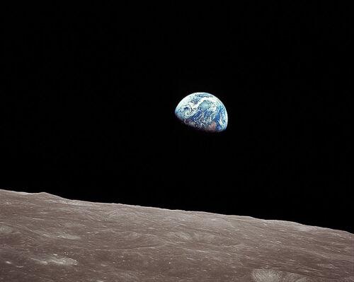 Apollo 8 Earthrise à partir de The Moon 8x10 Argent Halogénures Affiche