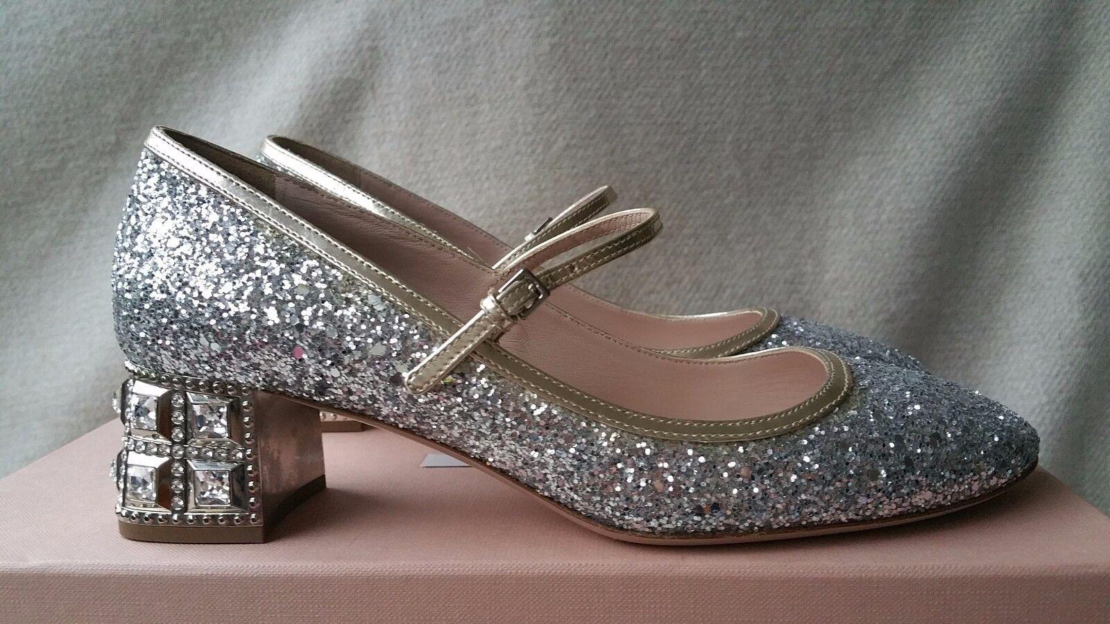 NIB Miu Miu Prada Glitter Glitter Glitter Mary Jane SIlver Pump 35.5 Jeweled Heel Crystal shoes d45ff6