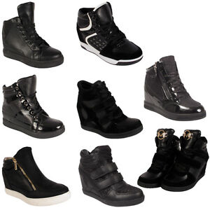 cc0354f415b2 Ladies Sneakers Women Mid High Hi Top Ankle Wedge Heel Boots ...