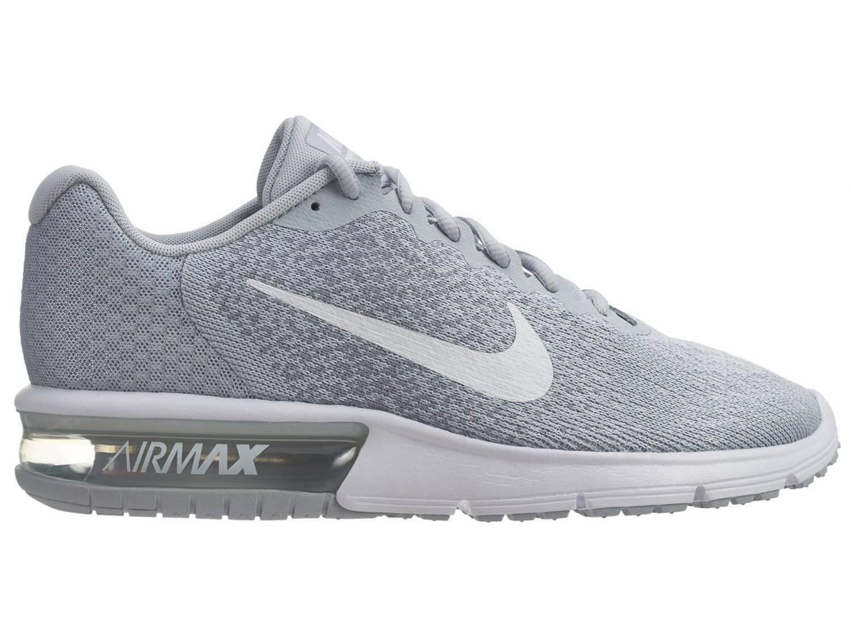 Nike Air Max Sequent 2 Mens 852461-007 Platinum Grey Mesh Running Shoes Sz.6