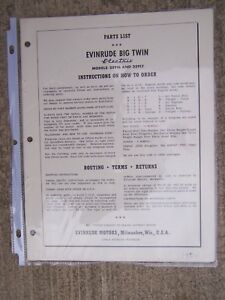 1954 Evinrude Big Twin Electric 25916 25917 Outboard Motor Parts List L Ebay