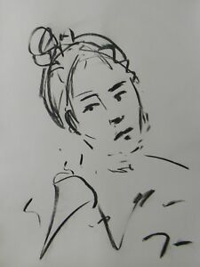 JOSE TRUJILLO Contemporary ORIGINAL CHARCOAL DRAWING SIGNED YOUNG LADY PORTRAIT