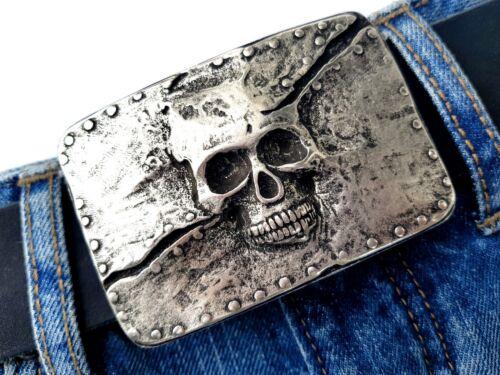 Totenkopf Gürtelschnalle Gürtelschließe buckle Skull Rockstar Biker  silber 4cm