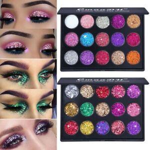 15-Farbe-Box-Damen-Glitzer-Lidschatten-Palette-Schimmernd-Pigment-Make-Up-Prett