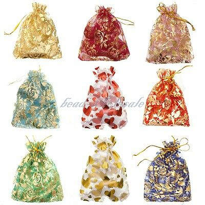"10/100 Pcs 4""x4.7"" Sheer Organza Wedding Party Favor Gift Candy Bag Pouch"