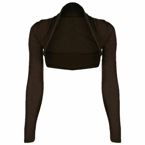 Women Ladies Plain Long Sleeve Cropped Bolero Shrug Cardigan Viscose Summer Top