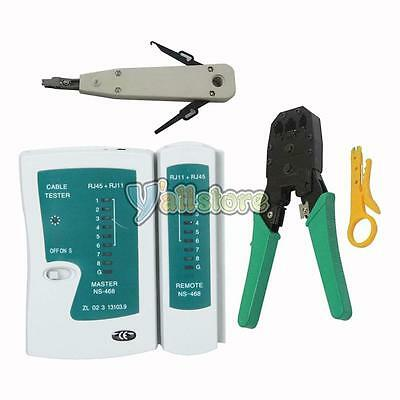 New RJ45 RJ11 CAT5 Network Tool Kit Cable Tester Crimp LAN +Punch Down Impact