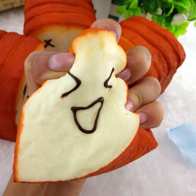 Jumbo Kawaii Toast Soft Squishy Expression Card Cellphone Holder Hand Pillow ME