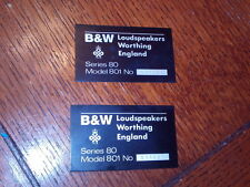 Bowers & Wilkins B&W 801 Series 80 Vintage Speaker Monitors Name Plate emblem