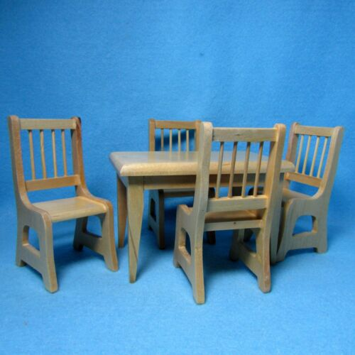 Dining Room Table with Chairs Dollhouse Miniature Kitchen Oak  RB0021B