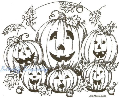 HALLOWEEN Pumpkins Jack Family Wood Mounted Rubber Stamp NORTHWOODS P9819 New
