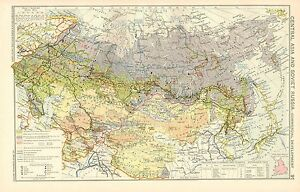 1928 Map Central Asia Soviet Russia Commercial Development