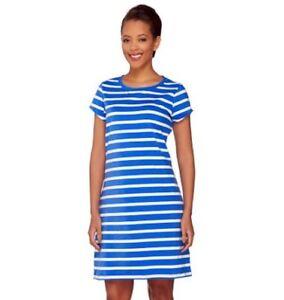Isaac-Mizrahi-Live-Striped-Crew-Neck-T-Shirt-Dress-Womens-XL-Blue-NWT