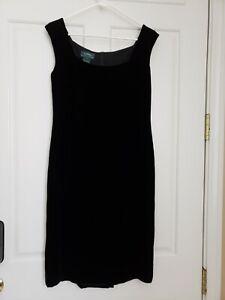 Lauren Ralph Lauren Women's SZ/6 Black Velour Sleeveless Sheath Lined Dress