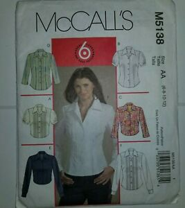Shirt-Set-Sewing-Pattern-Size-6-8-10-12-McCalls-M5138-UC-FF-Fitted-Long-Short