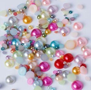 Flat-back-Mixed-Colours-Pearl-Rhinestone-Face-Gems-Craft-Card-Making-Embellish