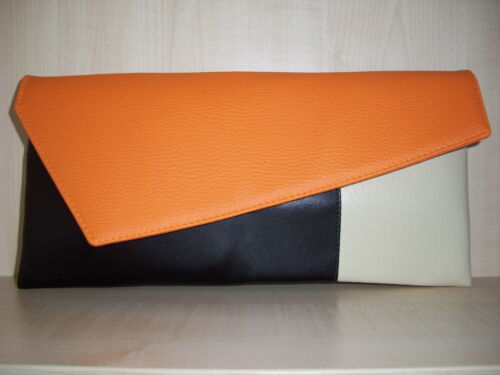 COLOR BLOCK ORANGE, BLACK and CREAM clutch bag, Faux leather, fully lined BN