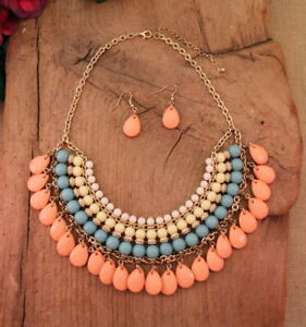 Cowgirl-Peach-Blue-Cream-White-Layered-Bead-Necklace-Earring-Set