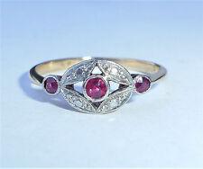 Antique Art Deco 18ct Gold Platinum & Ruby Three Stone Ring, Size L 1/2