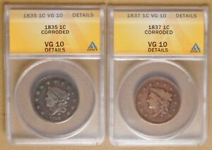 Original US 1835 Coronet Head Large Cent in VG Condition