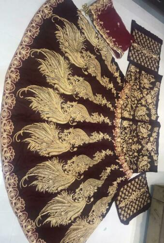 Velvet Long Blouse Lengha Anarkali Peacock Lehenga Choli Wedding Bridal Lehnga