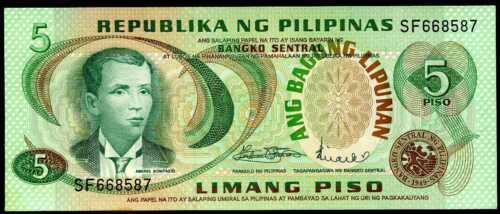 PHILIPPINES   5  PISO  1978   P 160a  Uncirculated   Prefix SF