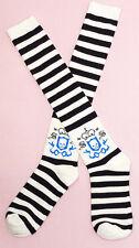 Gothic Lolita Victorian Visual Kei EGL Black White Stripe Crown & Skull Socks