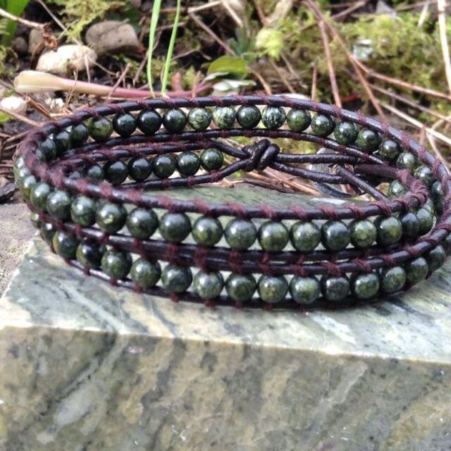 Double Irish Wrap bracelet Connemara marble Real leather.Jewellery Ireland