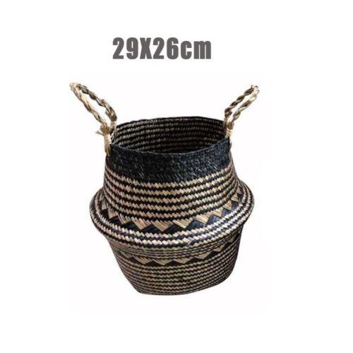 Handmade Foldable Seagrass Woven Basket Flower Planter Pot Laundry Storage Box
