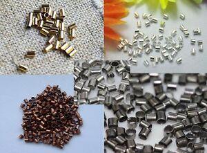 Crimp-Beads-1-5-or-2MM-TUBE-Silver-Gold-Bronze-Black-Plated-US-SELLER