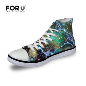 galaxy space men's canvas shoes low top skateboard