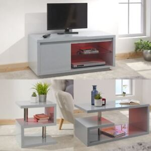 Details About Polar High Gloss Led Tv Stand Unit Lamp Table Coffee Table Grey W Led Light