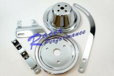Sbc Chevy Chrome 1 Groove Short Pump Pulley Kit With Alternator Brackets 283 327