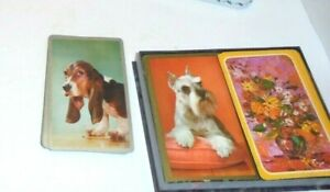 Estate-2-decks-of-Playing-Swap-cards-Vintage-Schnauzer-Beagle-Flowers