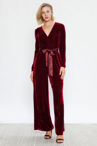 Flying Tomato A Calin Burgundy Velvet Holiday Party Cocktail Jumpsuit S M L