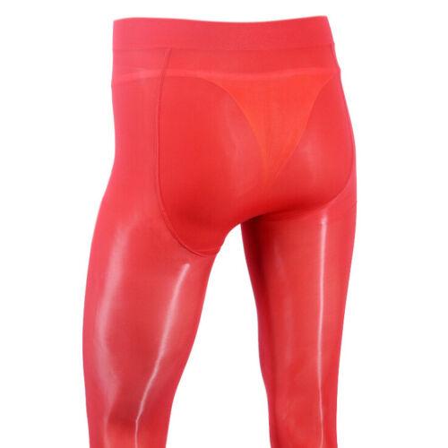 Men Elastic Shiny Pantyhose Glossy Stockings Sheer Tights Gay U Convex Underwear