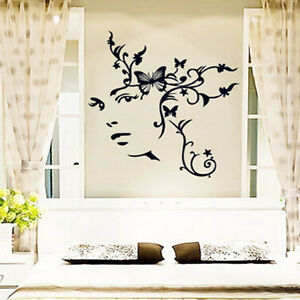 Image Is Loading Removable Home Decor Girl Face Butterfly Flower Wall