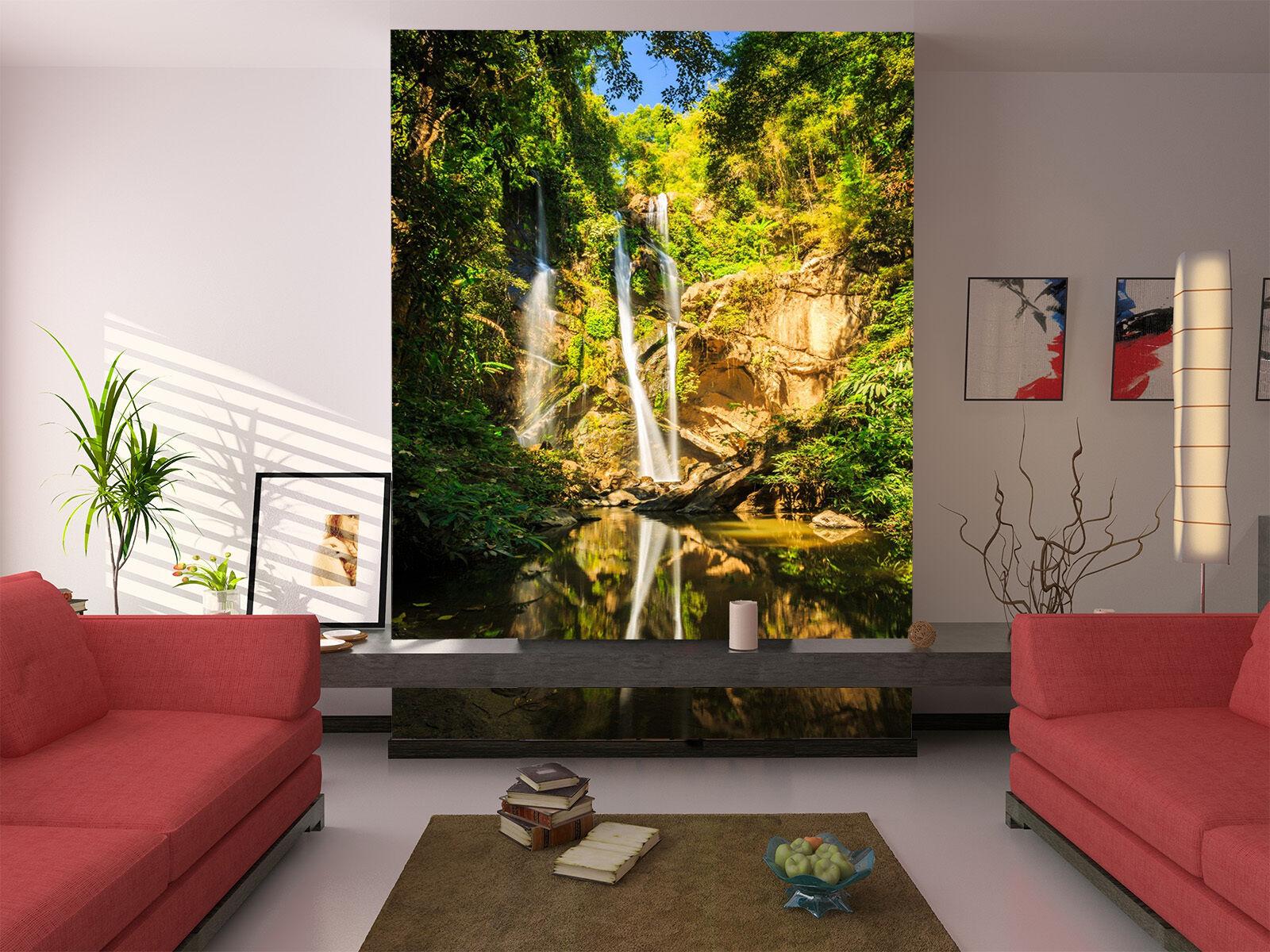 3D Sunlight Trees River 13 Wall Paper Wall Print Decal Wall AJ WALLPAPER CA