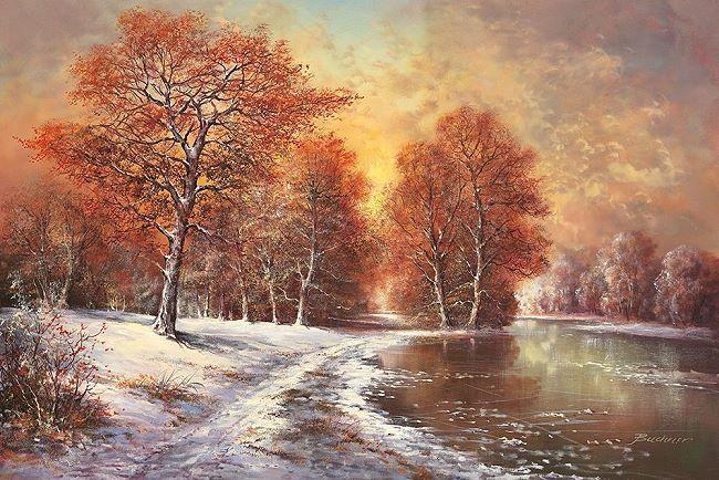 H. Buchner  Winter in the Taiga Keilrahmen-Bild Leinwand Wald Bäume Fluss Schnee